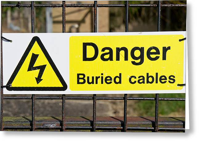Indicator Greeting Cards - Buried cables Greeting Card by Tom Gowanlock