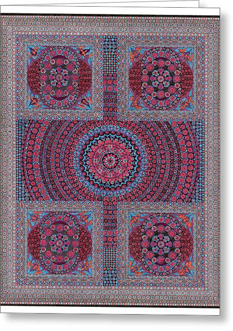 Geometrical Art Tapestries - Textiles Greeting Cards - Buried Treasure Greeting Card by Lawrence Chvotzkin
