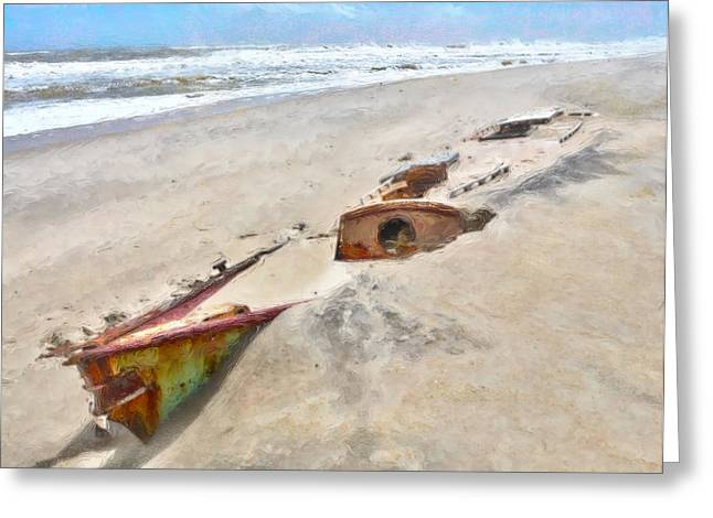Beach Decor Framed Prints Greeting Cards - Buried Treasure - Shipwreck on the Outer Banks I Greeting Card by Dan Carmichael