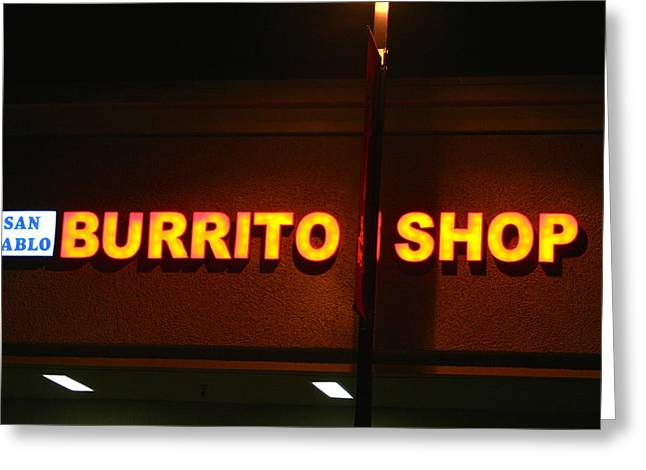 Shop Pyrography Greeting Cards - BURITO  SHOP  Sign Greeting Card by DUG Harpster
