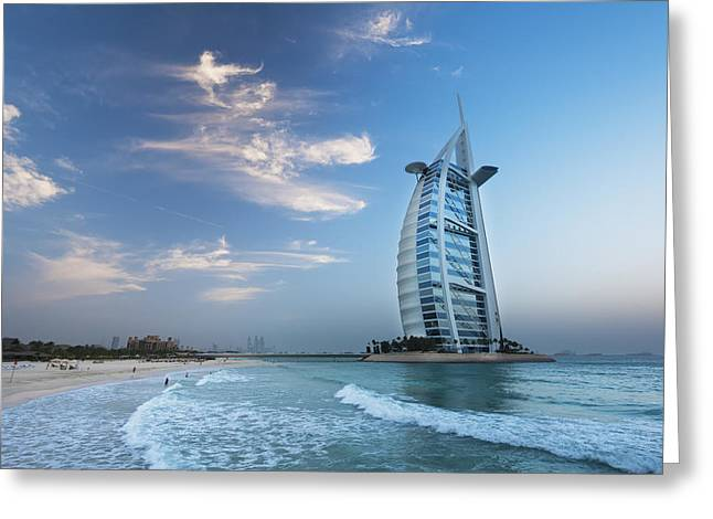 Surf City Greeting Cards - Burj Al Arab At Dusk Dubai, United Arab Greeting Card by Ian Cumming