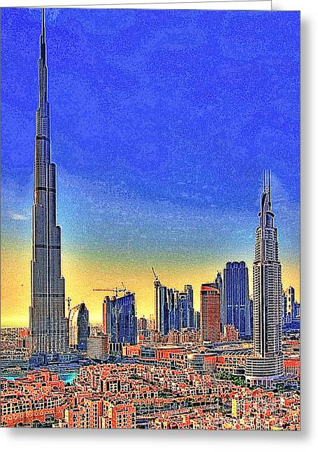 Highrise Digital Greeting Cards - Burj Khalifa Dubai United Arab Emirates 20130426 Greeting Card by Wingsdomain Art and Photography