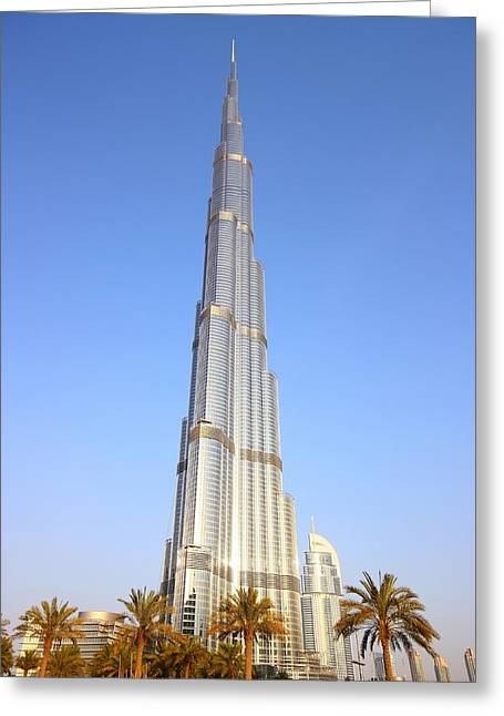 Flux Greeting Cards - Burj Khalifa Greeting Card by FireFlux Studios
