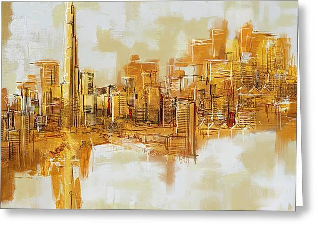 Dubai Greeting Cards - Burj Khalifa Skyline Greeting Card by Corporate Art Task Force