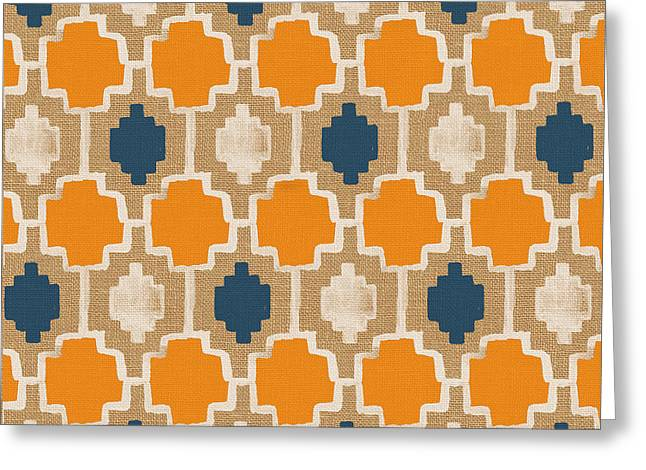 Tile Greeting Cards - Burlap Blue and Orange design Greeting Card by Linda Woods