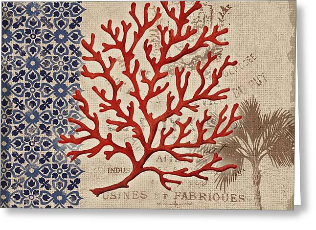 Red Coral Greeting Cards - Burlap Coral I Greeting Card by Paul Brent
