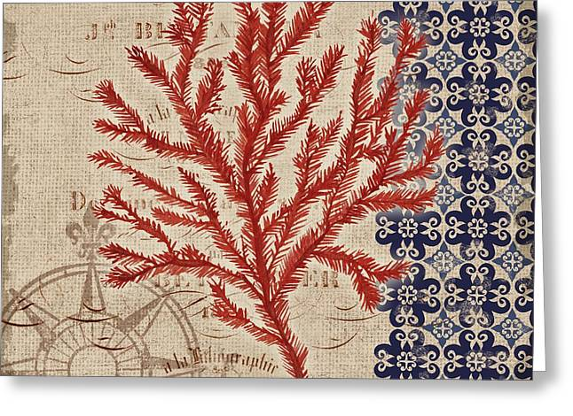 Red Coral Greeting Cards - Burlap Coral II Greeting Card by Paul Brent