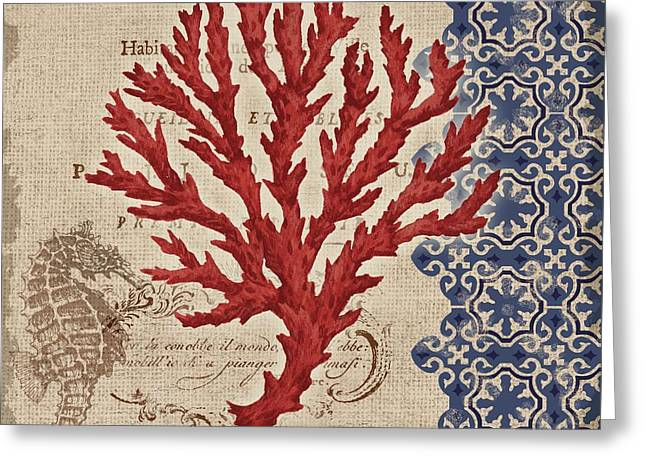 Red Coral Greeting Cards - Burlap Coral IV Greeting Card by Paul Brent