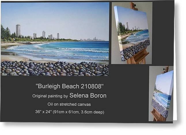 Australian Gold Coast Artist Greeting Cards - Burleigh Beach 210808 Greeting Card by Selena Boron