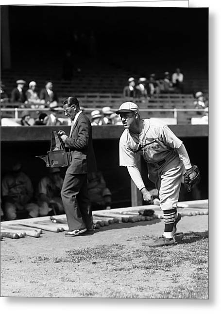Brooklyn Dodgers Greeting Cards - Burleigh Grimes Outside Dug Out Greeting Card by Retro Images Archive
