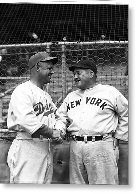 Brooklyn Dodgers Greeting Cards - Burleigh Grimes Shaking Hand Greeting Card by Retro Images Archive