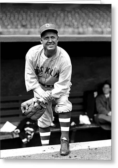 Brooklyn Dodgers Greeting Cards - Burleigh Grimes With Glove Greeting Card by Retro Images Archive