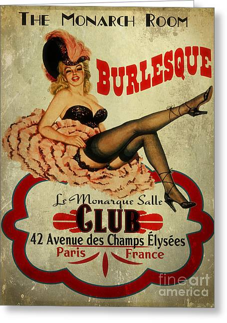 Burlesque Club Greeting Card by Cinema Photography