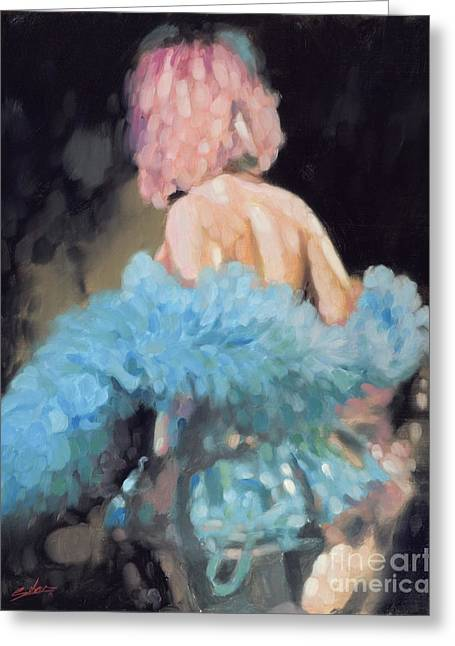 Burlesque Paintings Greeting Cards - Burlesque I Greeting Card by John Silver