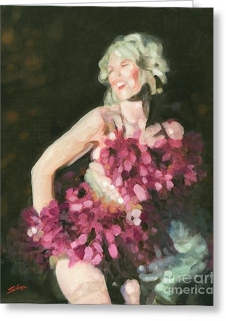 Burlesque Paintings Greeting Cards - Burlesque II Greeting Card by John Silver