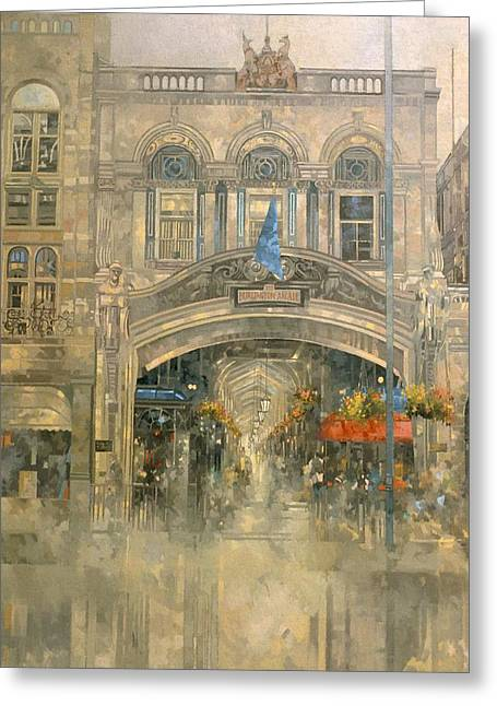 Shopping Greeting Cards - Burlington Arcade Oil On Canvas Greeting Card by Peter Miller