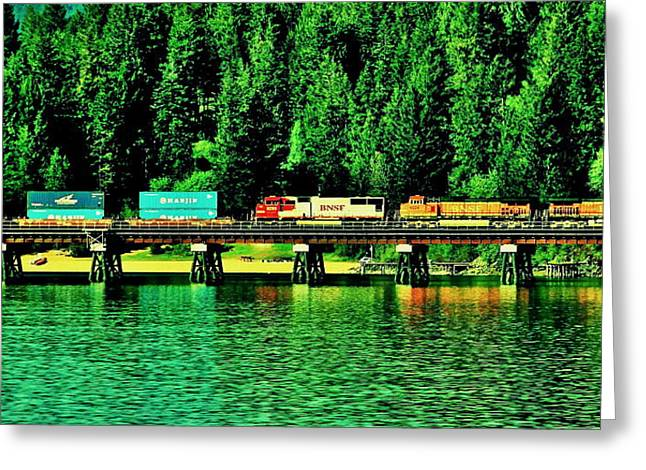 Lake Pend Oreille Greeting Cards - Burlington Northern Greeting Card by Benjamin Yeager