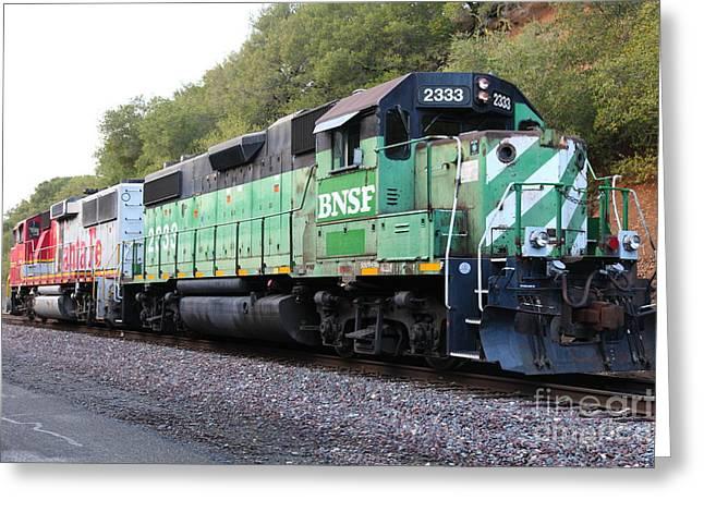 Burlington Northern Greeting Cards - Burlington Northern BNSF and Santa Fe Locomotives at Fernandez Ranch California - 5D21160 Greeting Card by Wingsdomain Art and Photography