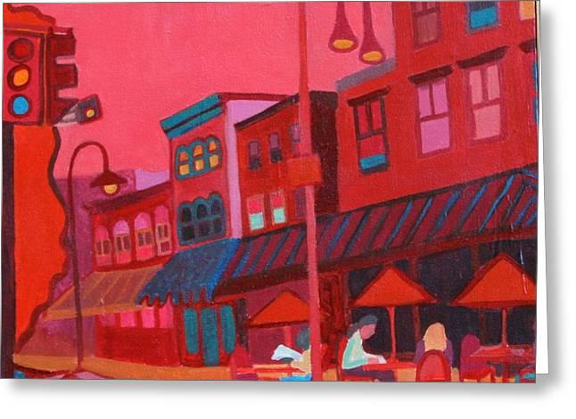 Streetlight Paintings Greeting Cards - Burlington VT cafe Greeting Card by Debra Bretton Robinson