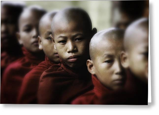 Monk-religious Occupation Greeting Cards - Burma Monks 2 Greeting Card by David Longstreath