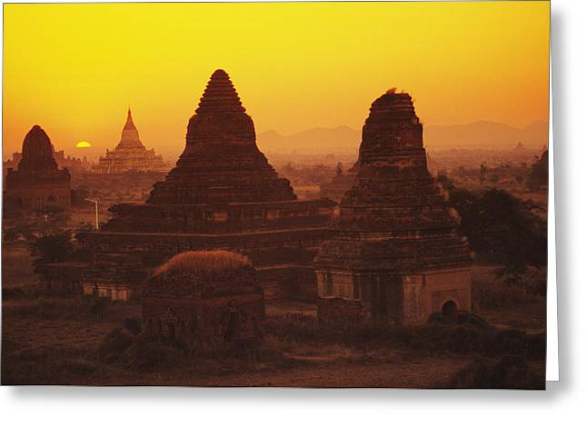 Burma Myanmar, Bagan, Temples At Sunset Greeting Card by Richard Maschmeyer