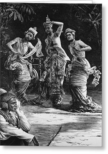 Traditional Dance Greeting Cards - Burmese Ballet Girls As They Performed Before The Viceroy Of India At Rangoon, From The Illustrated Greeting Card by Henry Stephen Ludlow