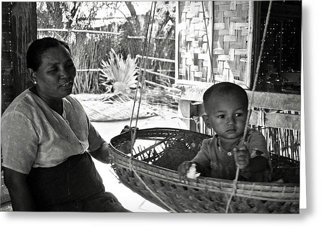 Bamboo House Greeting Cards - Burmese grandmother and grandchild Greeting Card by RicardMN Photography