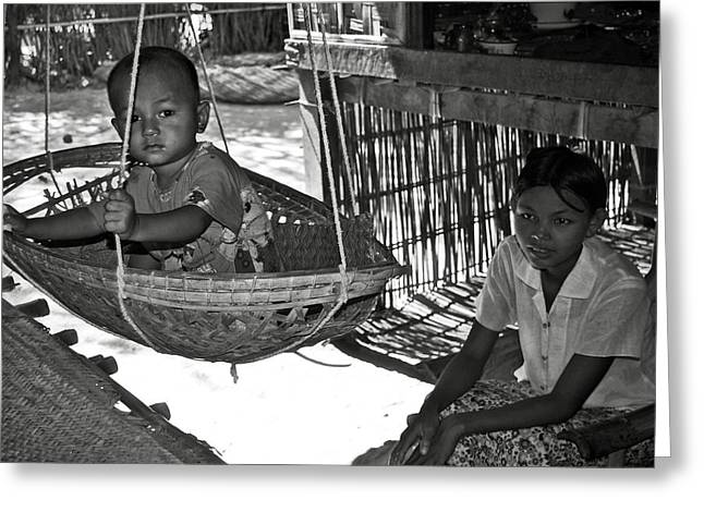 Bamboo House Photographs Greeting Cards - Burmese mother and son Greeting Card by RicardMN Photography