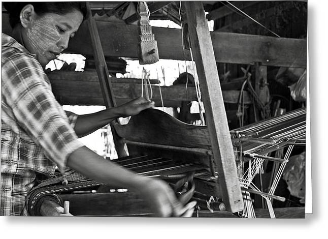 Bamboo House Greeting Cards - Burmese woman working with a handloom weaving. Greeting Card by RicardMN Photography