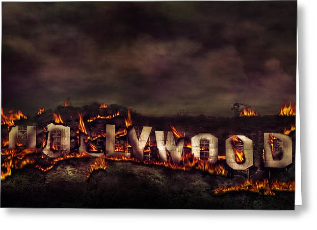 California Artist Greeting Cards - Burn this city Greeting Card by Anthony Citro