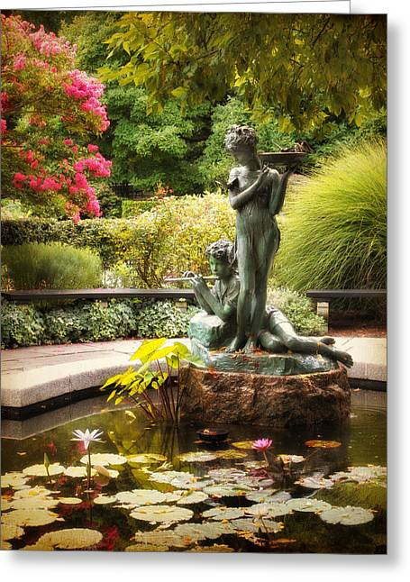 Conservatory Garden Greeting Cards - Burnett Fountain Garden Greeting Card by Jessica Jenney