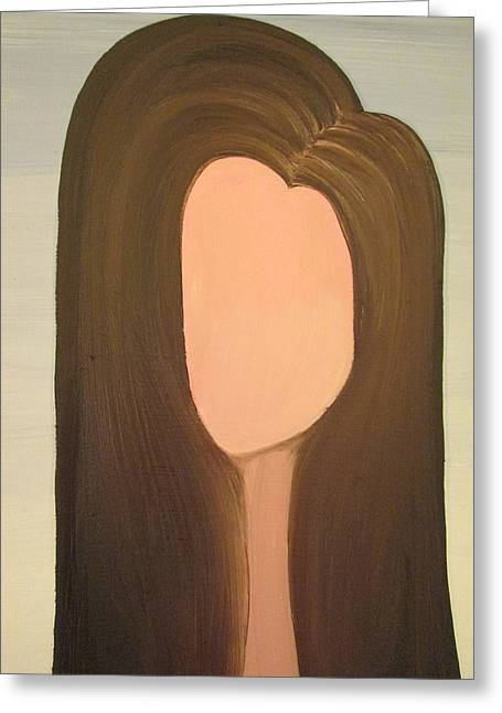 Absorb Paintings Greeting Cards - Brunette Greeting Card by Angela Benn