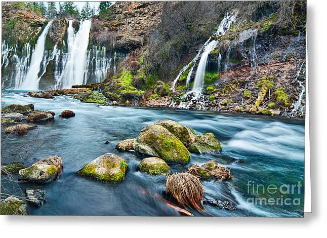 Plunge Greeting Cards - Burney Falls is one of the most beautiful waterfalls in California Greeting Card by Jamie Pham