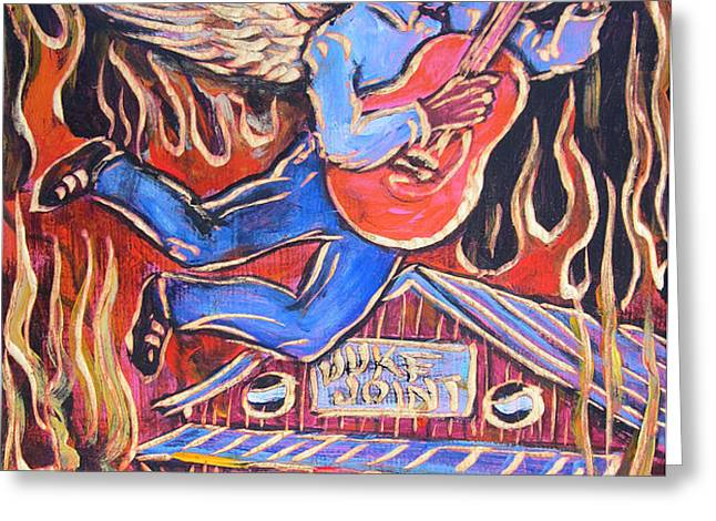 Burnin' Blue Spirit Greeting Card by Robert Ponzio