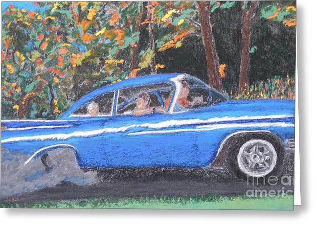 Burning Pastels Greeting Cards - Burnin Rubber in my Biscayne Greeting Card by D Joseph Aho