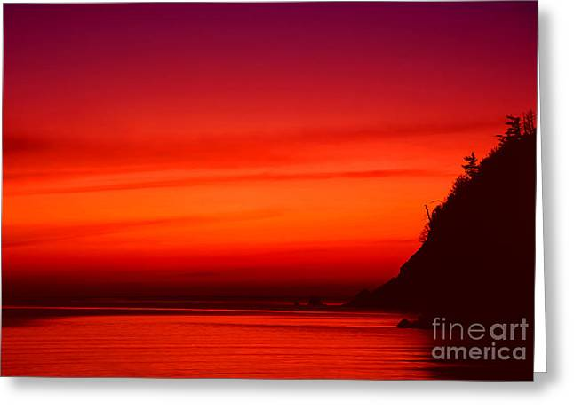 Sunset Seascape Greeting Cards - Burning Greeting Card by Aiolos Greek Collections