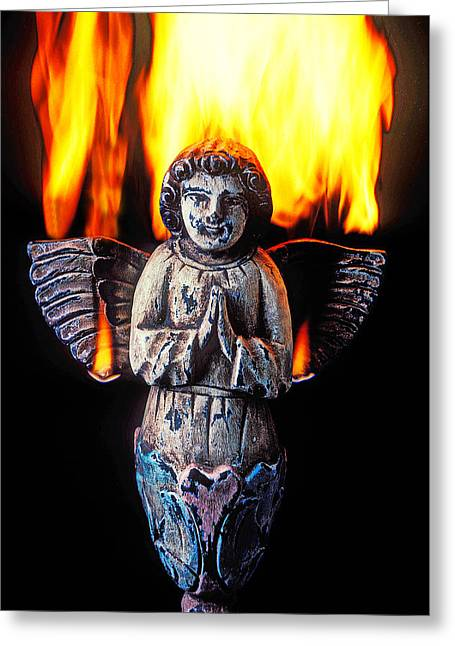 Burning Greeting Cards - Burning angel Greeting Card by Garry Gay