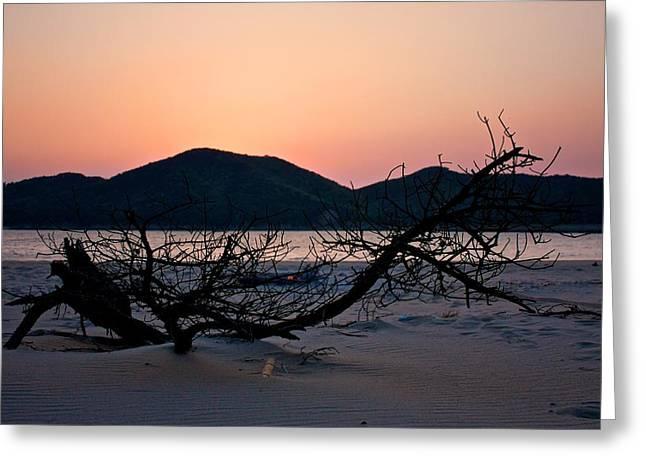 Burning Beach Sunset Greeting Card by Jeremy Hansen
