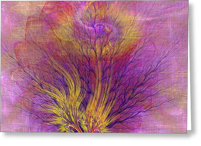 Religious Mixed Media Greeting Cards - Burning Bush - Square Version Greeting Card by John Robert Beck