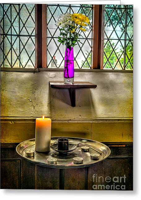 Glass Vase Greeting Cards - Burning Candle Greeting Card by Adrian Evans