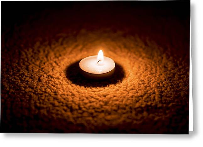 Burning Candle Greeting Card by Aged Pixel