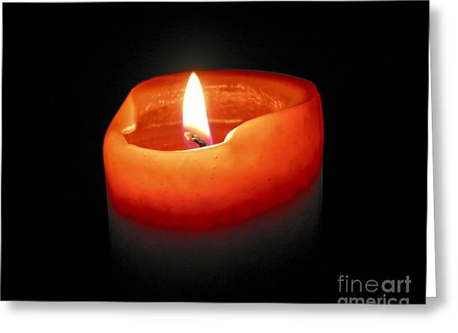 Wax Greeting Cards - Burning candle Greeting Card by Elena Elisseeva