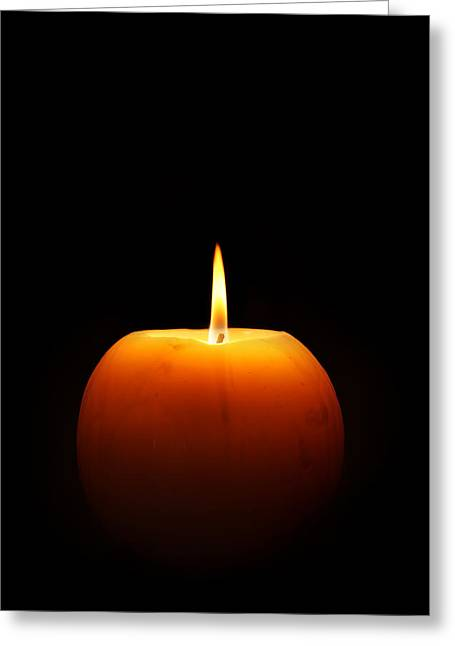 Wax Greeting Cards - Burning candle Greeting Card by Johan Swanepoel