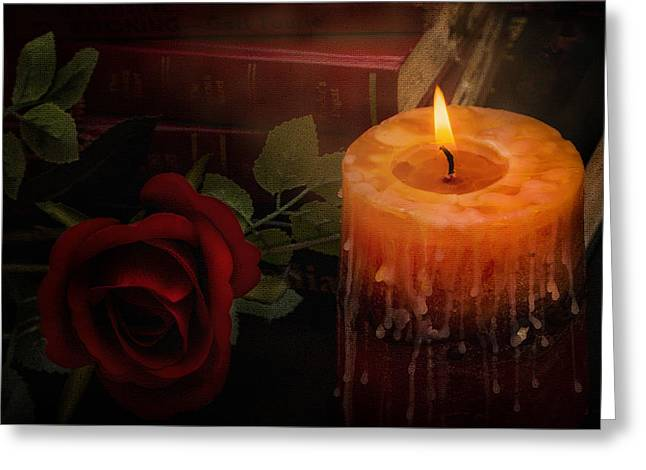 Black Top Greeting Cards - Burning Candle with Books and Red Rose Greeting Card by Ronel Broderick