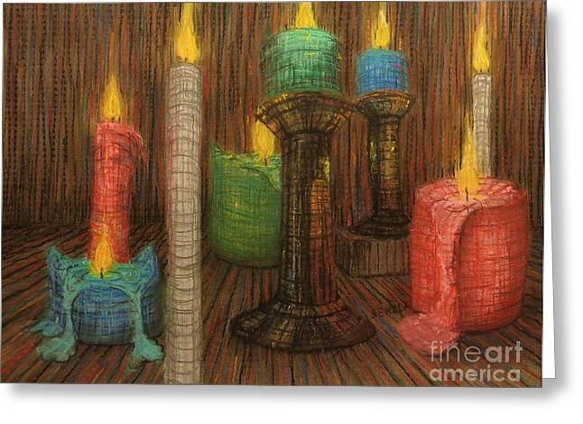 Burning Pastels Greeting Cards - Burning Candles Greeting Card by John Sekela