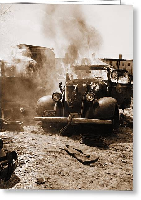 Rusted Cars Greeting Cards - Burning Car Circa 1942  Greeting Card by Aged Pixel