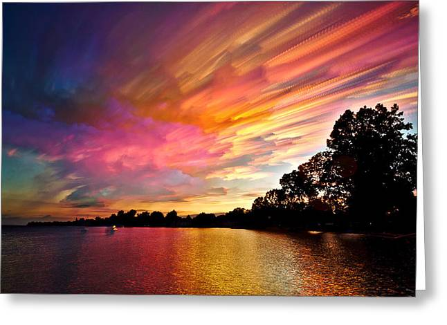Colorful Photography Greeting Cards - Burning Cotton Candy Flying Through the Sky Greeting Card by Matt Molloy