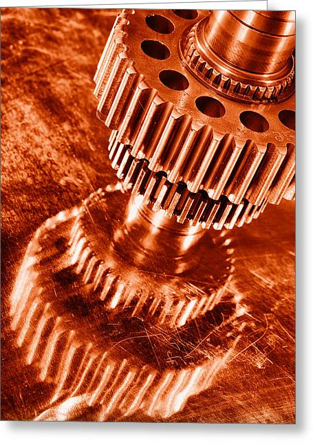 Stainless Steel Greeting Cards - Burning Gears And Cogs Greeting Card by Christian Lagereek