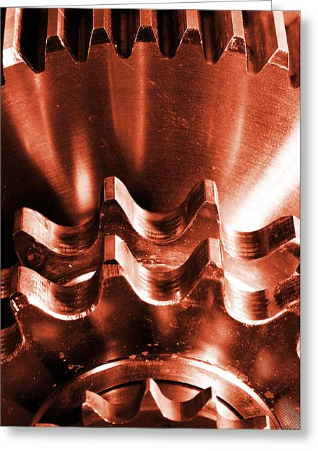 Stainless Steel Greeting Cards - Burning Gears And Cogwheels Greeting Card by Christian Lagereek