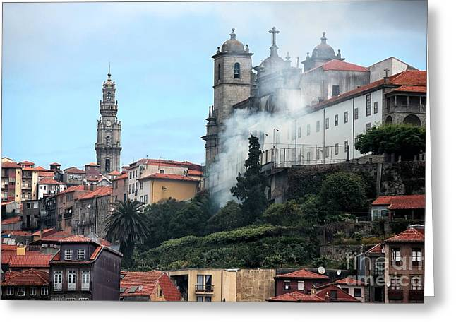 Burning Buildings Greeting Cards - Burning in Porto Greeting Card by John Rizzuto